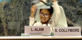 Miss Lena Alam, Year 3 Student, St George's CE Primary School, UK speaking about her future and urging leaders to achieve the SDGs before 2030 (WASD 2018, UN Geneva)